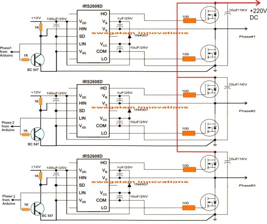 arduino 3 phase inverter driver