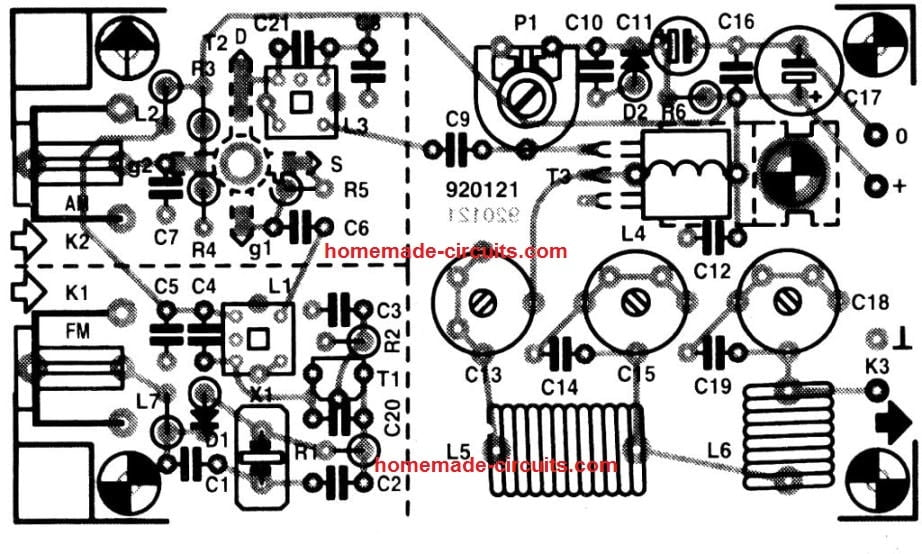 27 MHz transmitter PCB component layout