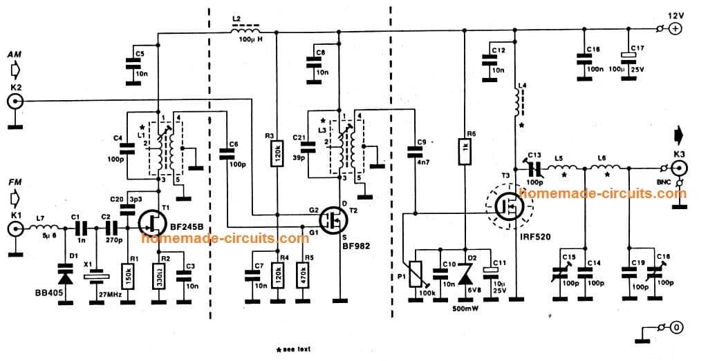 10 km range 27 MHz transmitter circuit