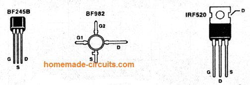 BF982, BF245, IRF520 pin details