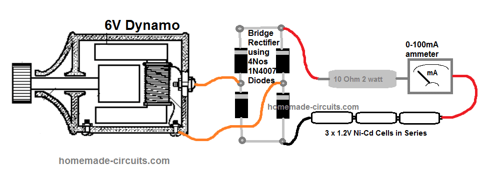 connecting the dynamo with the battery and the rest of the mentioned parts  can be implemented using the following wiring layout: