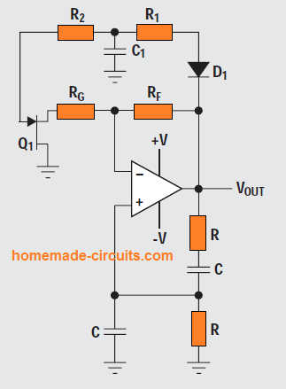 Wien-bridge oscillator with AGC