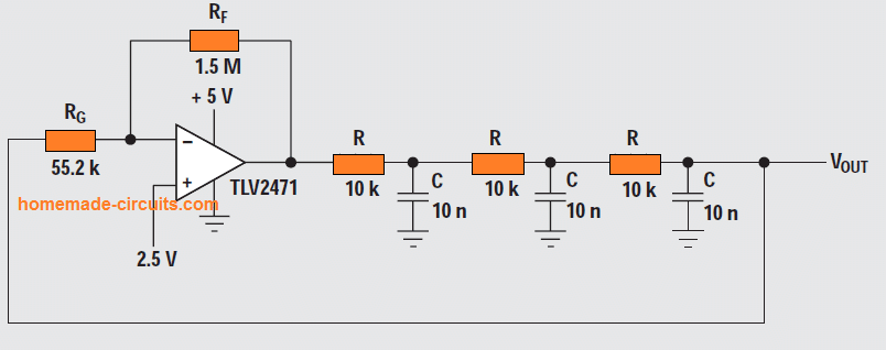 Phase-shift oscillator (one opamp)