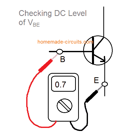 checking DC level of Vbe in BJTs
