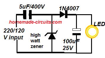 simple led driver using high current zener diode