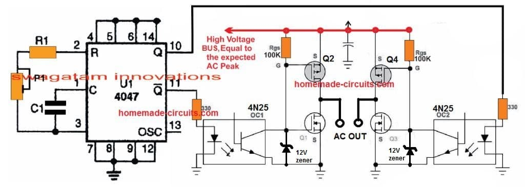 simplest transformerless inverter circuit suing IC 4047 and H-bridge mosfet topology