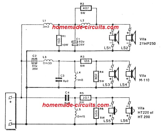 crossover network circuit for open baffle loudspeaker box circuit