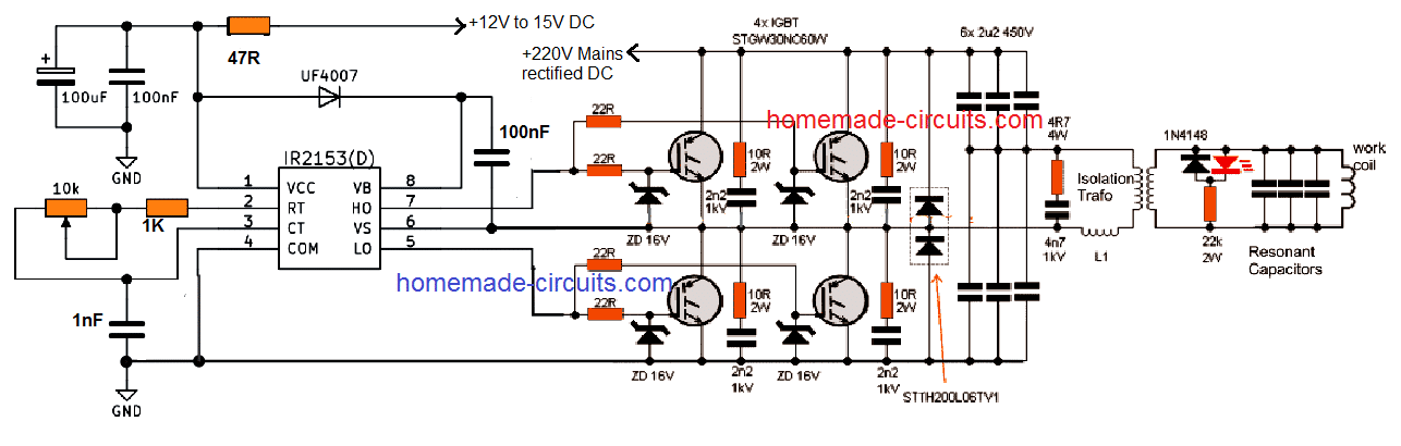 Induction Heater Circuit Using IGBT (Tested) | Homemade ... on