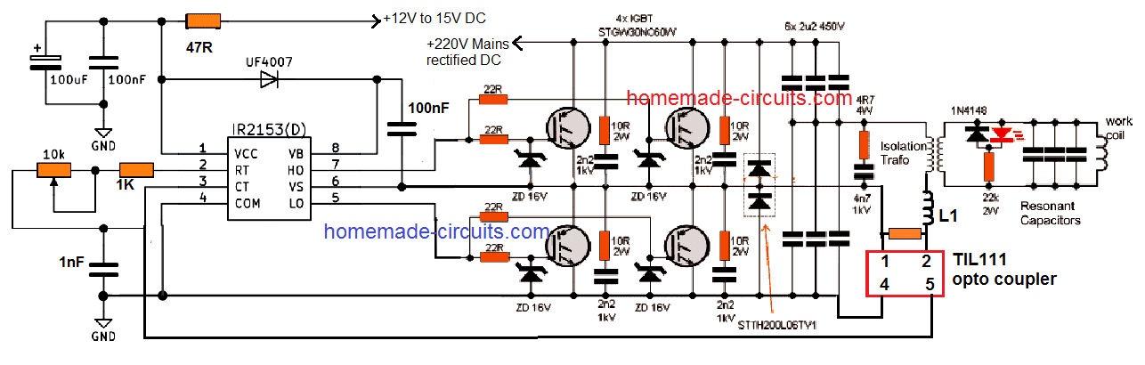 1 kva induction heater circuit with current control