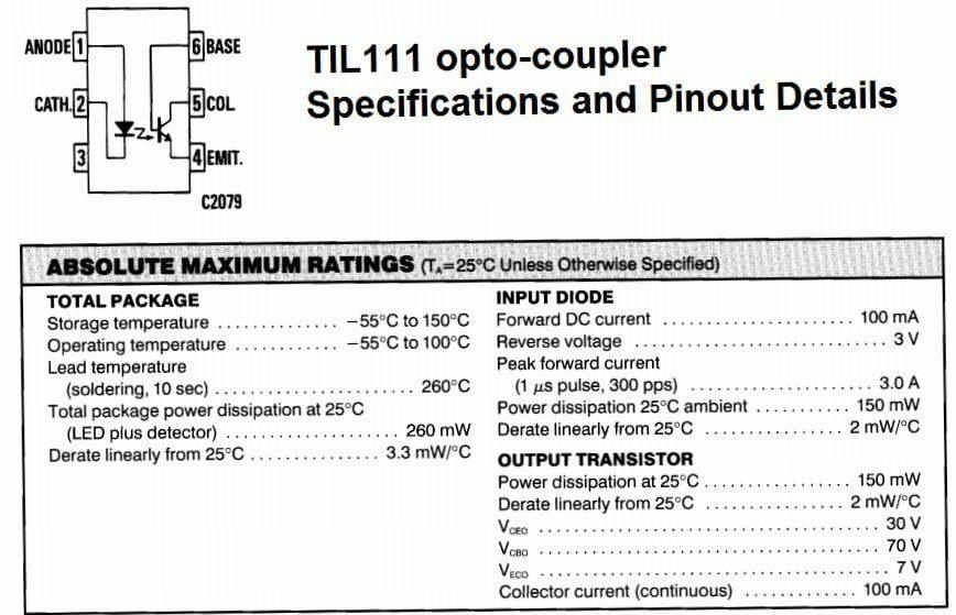 TIL111 opto-coupler Pinout Details