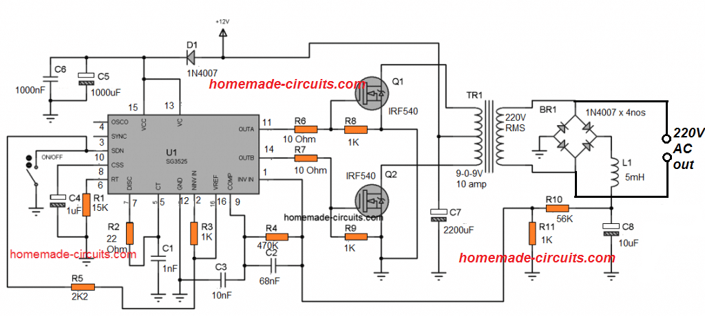 SG3525 inverter circuit with automatic feedback control