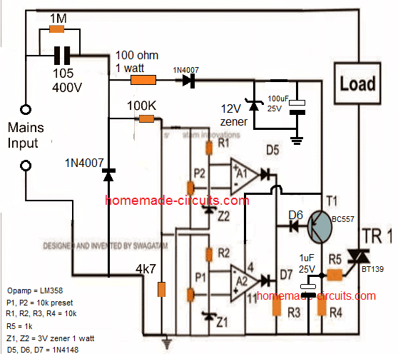 transformerless high low voltage auto cut off circuit