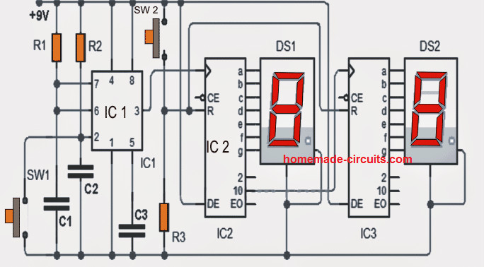 0 to 99 Digital Pulse Counter Circuit | Homemade Circuit Projects