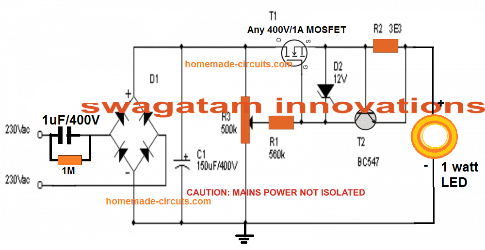 probably the best universal led driver circuit that guarantees a 100%  protection for the led from all types of hazardous situations, such as  sudden over