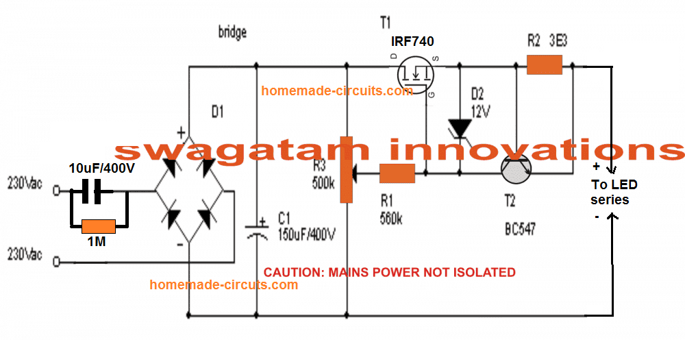 Capacitive and MOSFET controlled transformerless power supply circuit