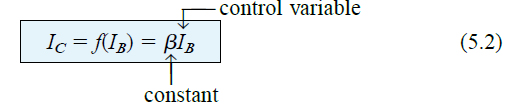 linear relationship existing between IC and IB