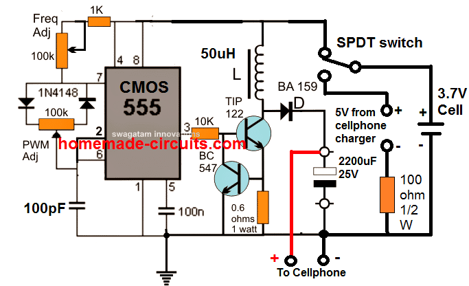 IC 555 base power bank smart phone charger circuit