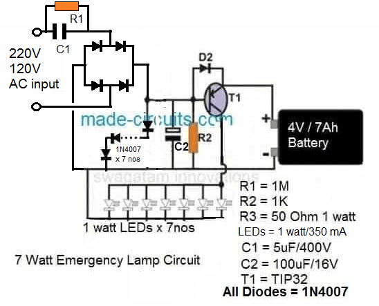 transformerless compact 5 watt emergency lamp