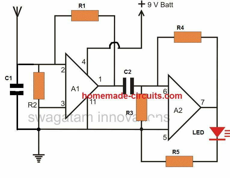Simple wireless bug detector circuit