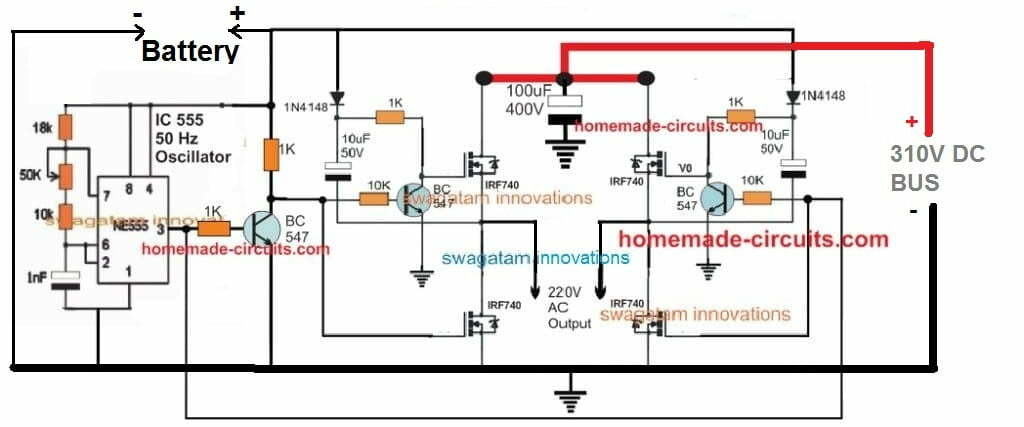simple transistorized full bridge inverter circuit using discrete parts