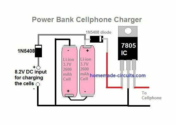 simple power bank for charging smart phones using two 3.7V cells in series