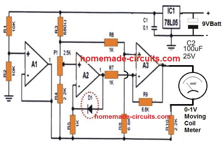 Room temperature indicator circuit using LM324 IC
