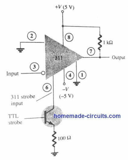 LM311 as strobe comparator circuit
