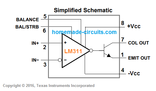 LM311 simplified schematic