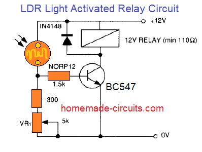 LDR light activated relay circuit