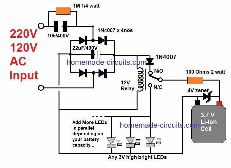10 automatic emergency light circuits homemade circuit projects Simple Light Circuit Diagram