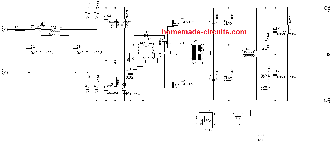 SMPS 2 x 50V 350W Circuit for Audio Power Amplifiers | Homemade
