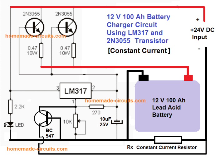2N3055 battery charger circuit for 100 Ah battery