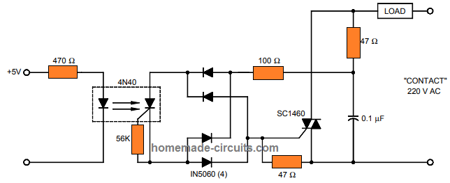 SSR circuit using SCR opto-coupler 4N40