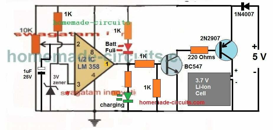 USB 3 7V Li-Ion Battery Charger Circuit | Homemade Circuit