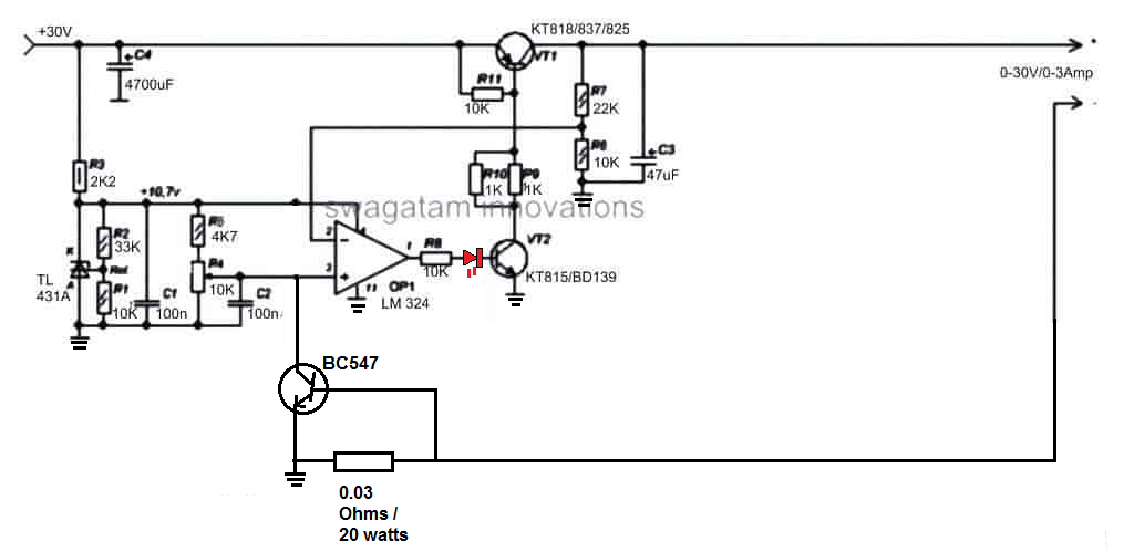 lm324 variable power supply circuit