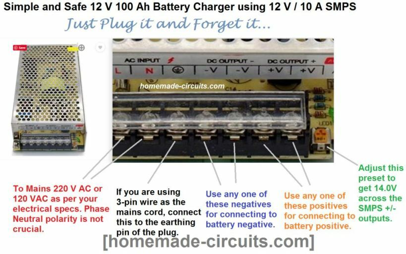 Infographic showing how to charge a 12 v 100 ah lead acid battery using a ready mafe 12 v 10 amp smps