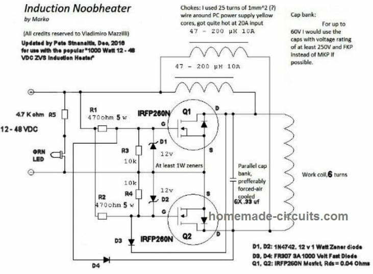 1200 watt induction heater simple design