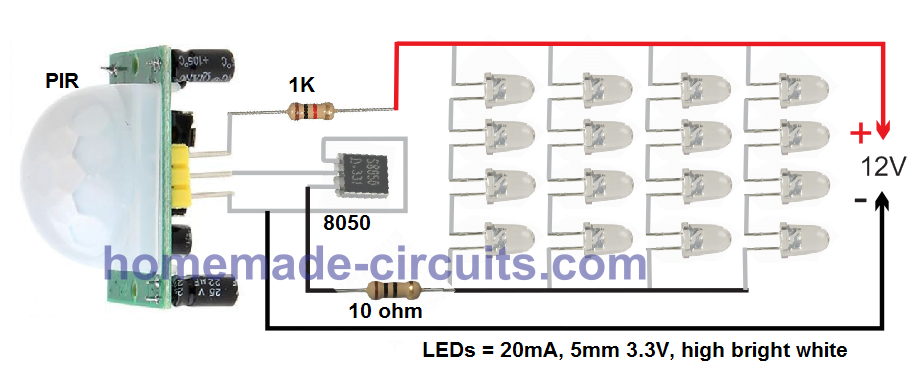 simple LED PIR light circuit