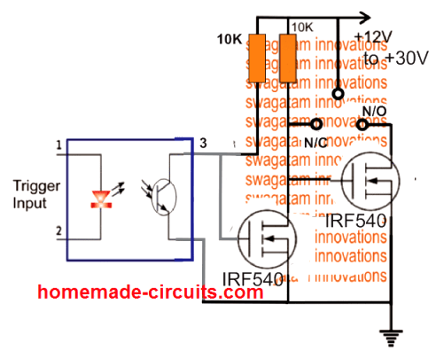 solid state SPDT DC relay using MOSFET