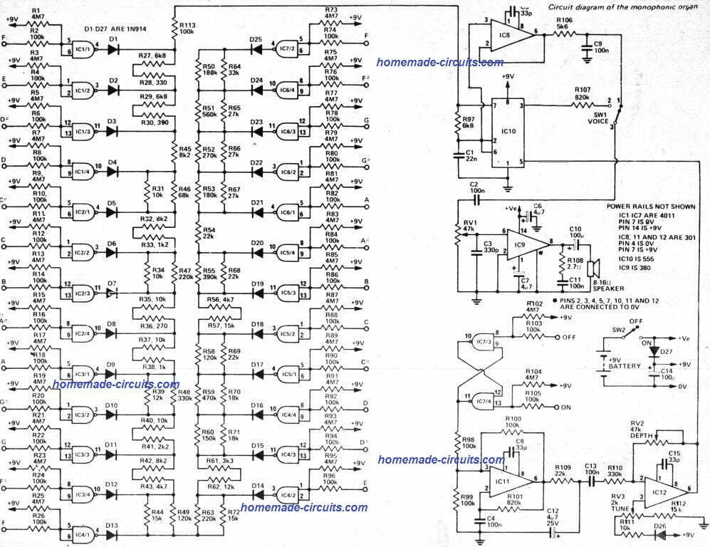 circuit schematic for electronic touch organ circuit