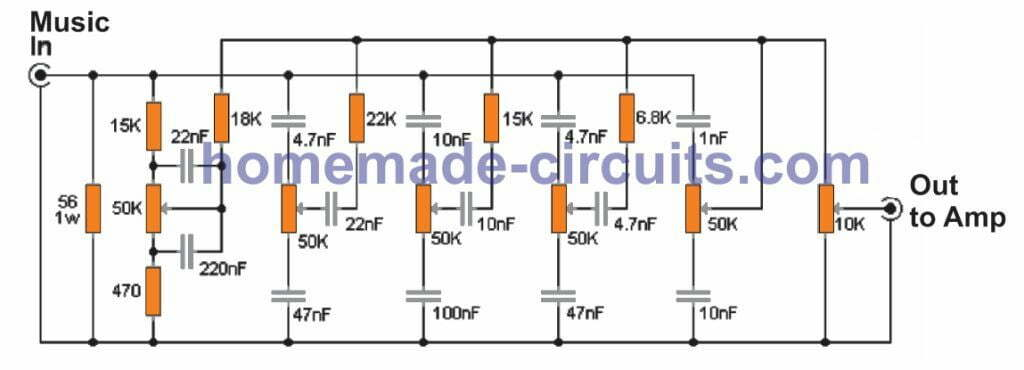 5 band equalizer circuit