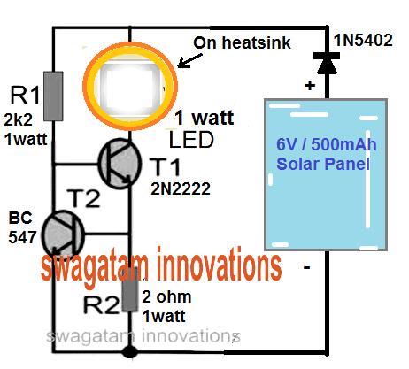 solar 1 watt led lamp circuit