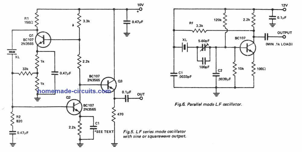 Low frequency series mode oscillator circuit