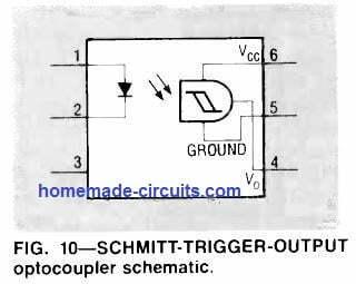Schmitt trigger output optocoupler