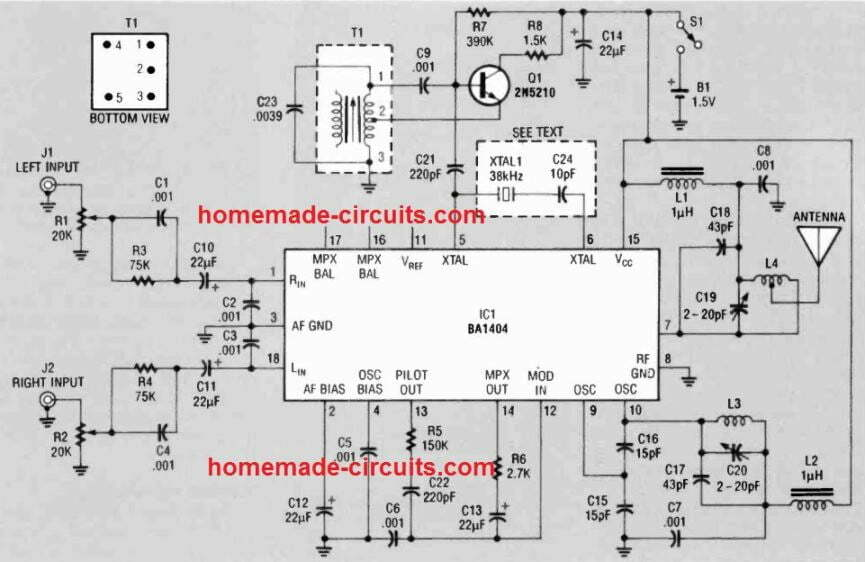 FM stereo broadcast transmitter circuit