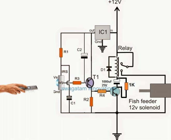 IR remote controlled solenoid circuit