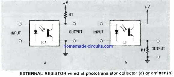 how to configure resistor to optocoupler output transistor