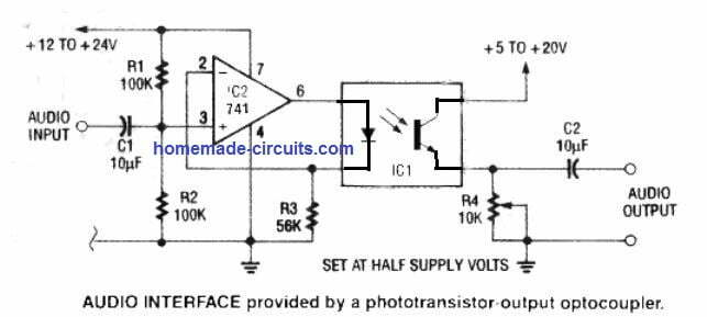 how to interface optocoupler with analogue audio signal