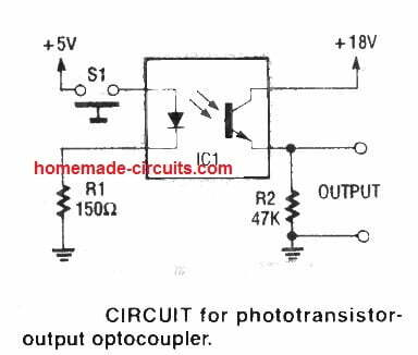 basic optocoupler circuit and pin connection diagram