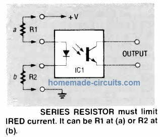 how to connect resistor to optocoupler input side LED